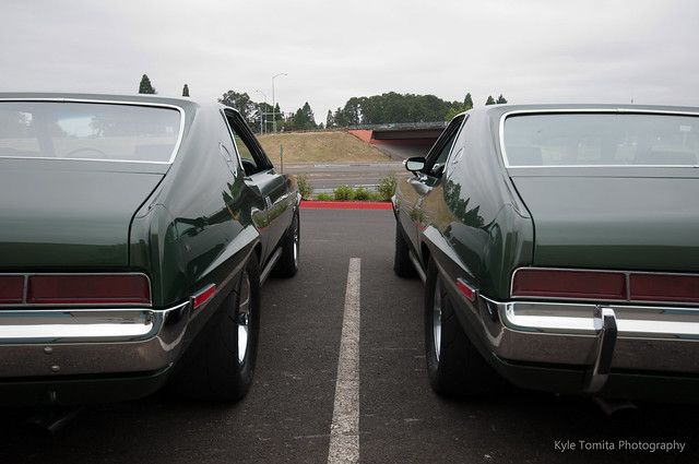 two 1970 AMC AMX backside