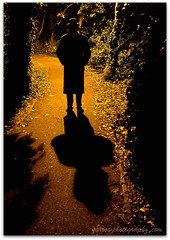 Shadowyman! (TDR Photographic) Tags: light shadow selfportrait man silhouette night canon dark scary woods streetlight path backlit threat contrejour eos5d
