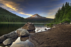 Sunset at Trillium Lake with Mount Hood 3 - HDR (David Gn Photography) Tags: trees sunset sky mountain reflection nature clouds oregon landscape outdoors bravo rocks parks wilderness mounthood hdr trilliumlake 9xp canoneos7d absolutelystunningscapes sigma1020mmf35exdchsm