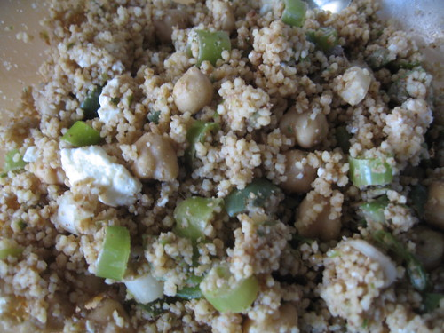 Whole wheat couscous, with green olives, scallions, feta and garbanzo