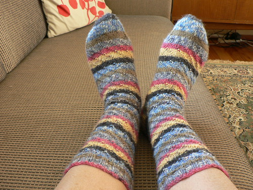 Spirally striped socks from the top 2