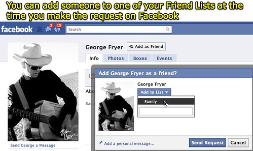 Add facebook friend to a list when requesting