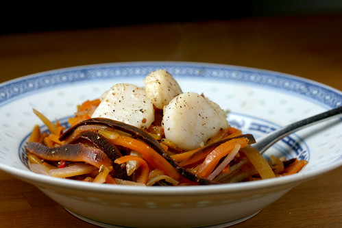Tricolour carrot tagliatelle with scallops