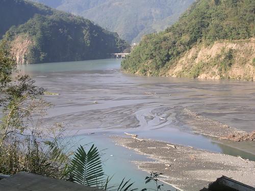 武界壩的淤積狀況(攝於97年11月)