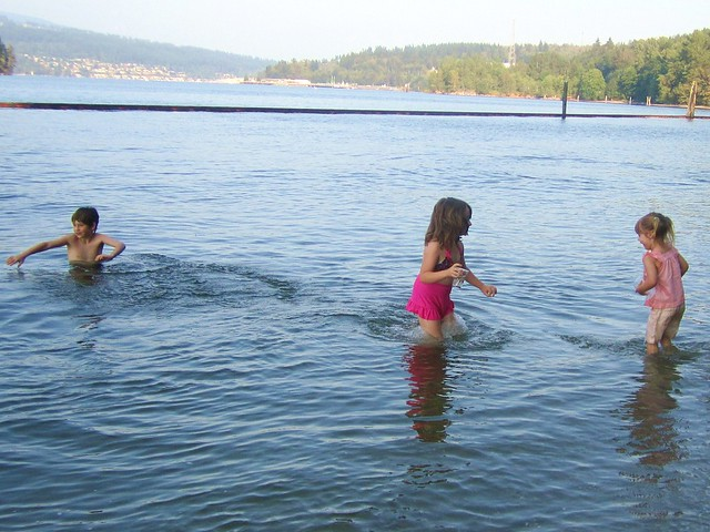 Kids splashing in the water