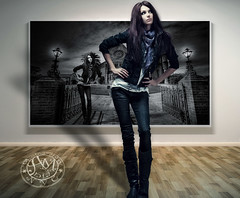 Space... Time... (Poe Tatum) Tags: wood winter shadow woman girl leather female scarf photoshop photo rat gallery boots space jeans pack