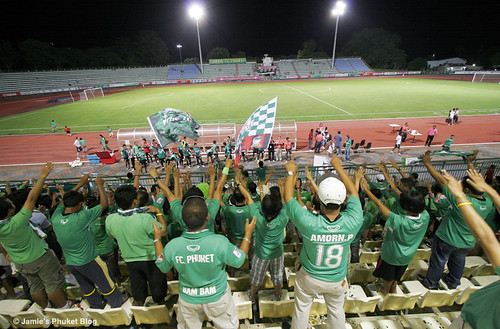 Fans salute the Phuket team after the game