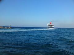 Hellenic Seaways leaving Chios (CTPPIX.com) Tags: cameraphone trip travel sea summer vacation ferry island greek boat ship sony sonyericsson urlaub aegean hellas cybershot greece journey gr ctp 2010 ege chios hios hellenic greekisland xios sakiz feribot grek 81mp hellenicseaways christpehlivan aeagean ctppix c905 sakizadasi