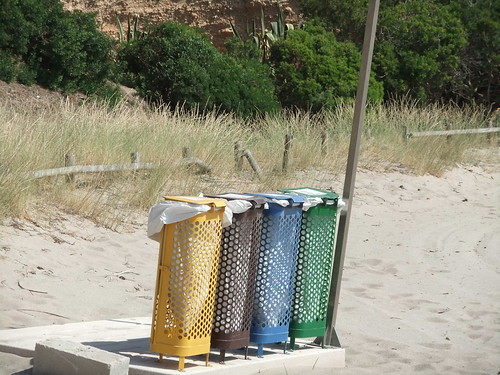 spanish beach recycling bins