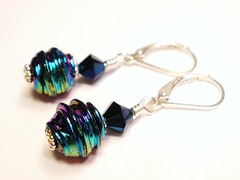 Iridescent Blue Leverback Earrings (lauwil243) Tags: blue black rainbow crystals handmade jewelry womens iridescent accessories earrings swarovskicrystal sterlingsilver leverback designsbylaurie jewelryunder30