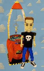 The Claw (Joel.Baker) Tags: sculpture game green buzz toy skull baker lego buzzlightyear crane joel space alien sid woody story theclaw skullshirt littlegreenalien lettle toystory1 spacecrane