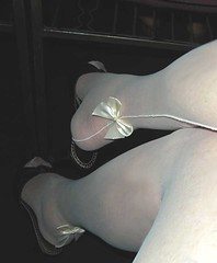 Shocking, I took photo in church, my satin bows (Sugarbarre2) Tags: show old wedding light people bw woman white black girl mom nikon shoes toes flash s mature wife heels satin granny mules ff sheer seams fullfashioned