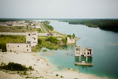 Sunken Prison (Dmitri Korobtsov) Tags: trip blue lake building abandoned beach sand ruins europe mine estonia decay lagoon canyon baltic prison sunken exploration eesti canonef24105mmf4lisusm rummu creativeommons
