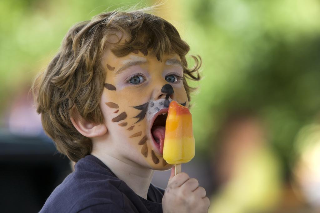 leeuw likt ijsje