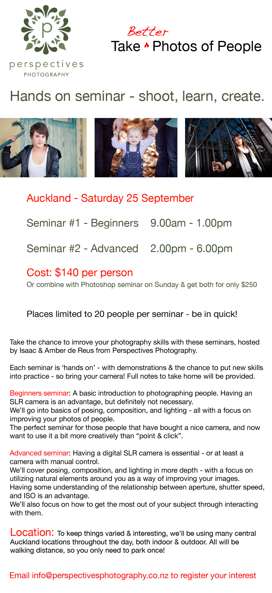 Auckland photography seminar