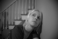 227 (lisbokt) Tags: portrait blackandwhite white house selfportrait black home stairs self mouth project hair eyes autoportrait expression livingroom step blond blonde 365 dailyphoto project365 portraitofself portraitofmyself