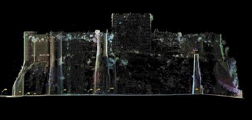 Elévation du front du Château de Saladin/Saône/Sahyun obtenue par relevé topographique haute densité (Syrie, 2008)