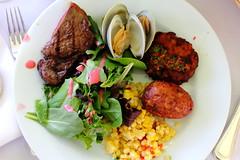 IMG_3967.jpg (Hello Turkey Toe) Tags: food table salad corn plate fork dressing potato steak clams crabcake napking