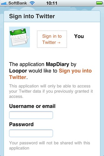 MapDiary oauth