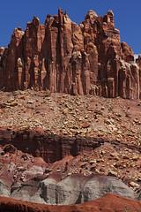 Strata (wyojones) Tags: red utah sandstone cliffs strata geology np capitolreef jurassic stratigraphy capitolreefnationalpark slopes joints shale sedimentology talus wingate chinle triassic desertvarnish moenkopi rockfalls wyojones slopeformers cliffformers