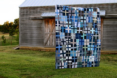 Trudy's Arse Kicking Quilt [Finished!] (LULUBLOOM :: lucia) Tags: blue grey quilt cross masculine arse gray fabric quilting flannel plus blocks collaborative kicking completed collaboration trudys backing trudysarsekickingquilt