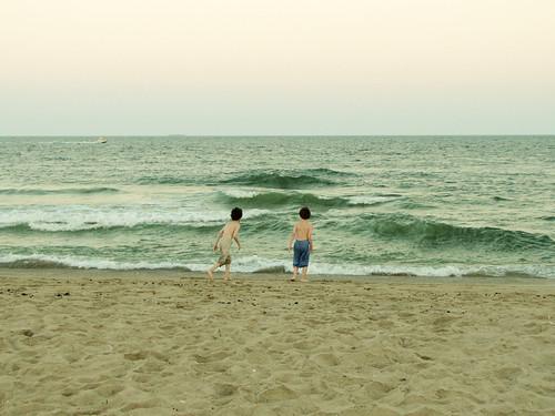 The boys by the ocean