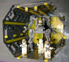 Space zombies, plauge of the 23rd Century (DARKspawn) Tags: lego mecha classicspace space mech bot robot collectableminifigure minifigure figure fig minifig astronaut zombie vignette vig diorama dio