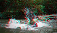 Golden, Colorado (Anaglyph 3D) (patrick.swinnea) Tags: water creek river golden stereoscopic stereophoto 3d colorado tube anaglyph splash tubing