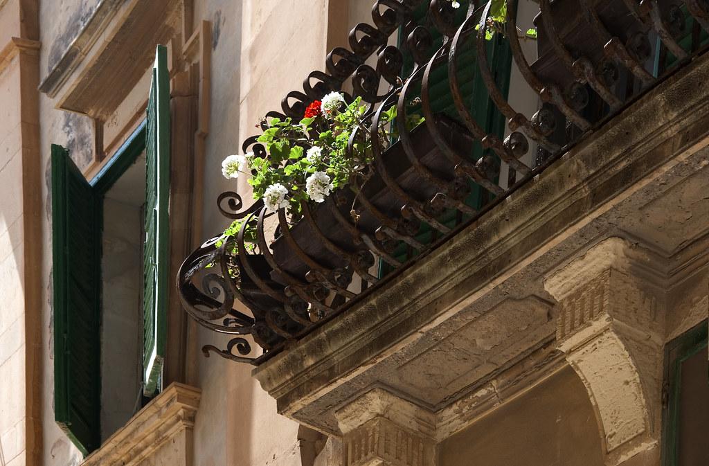 Mdina green shutters and geraniums