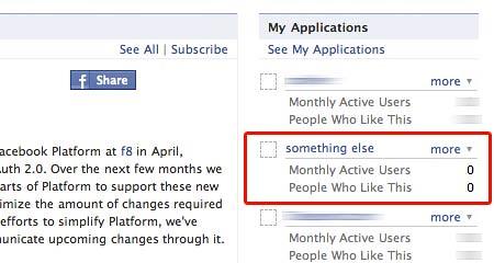 Facebook applications list