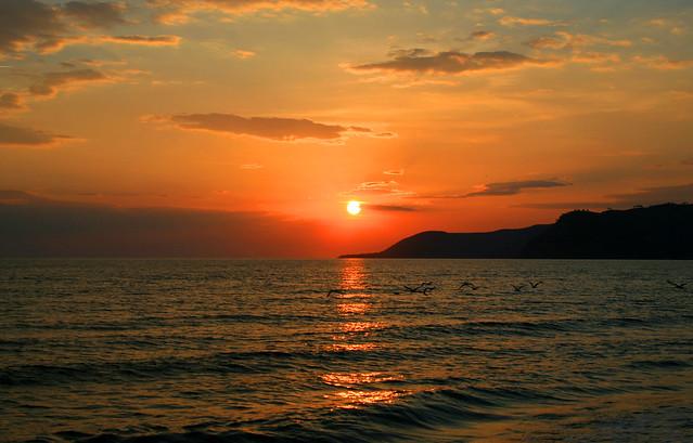 Spettacolare tramonto sul mare
