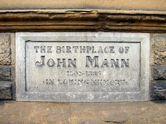 Photo of John Mann stone plaque