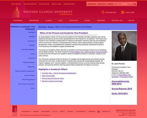 Provost's web page, highlighted