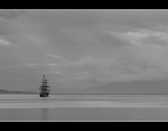 To the unknown (jeroenf) Tags: sea bw argentina ushuaia boat ship sailingship beaglechannel canonpowershots5is