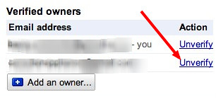 Unverify in Google Webmaster Tools