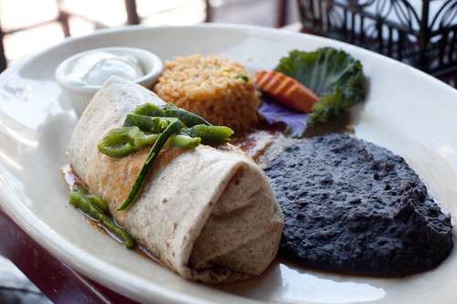 Vegetable Burrito and Black Beans-La Fiesta