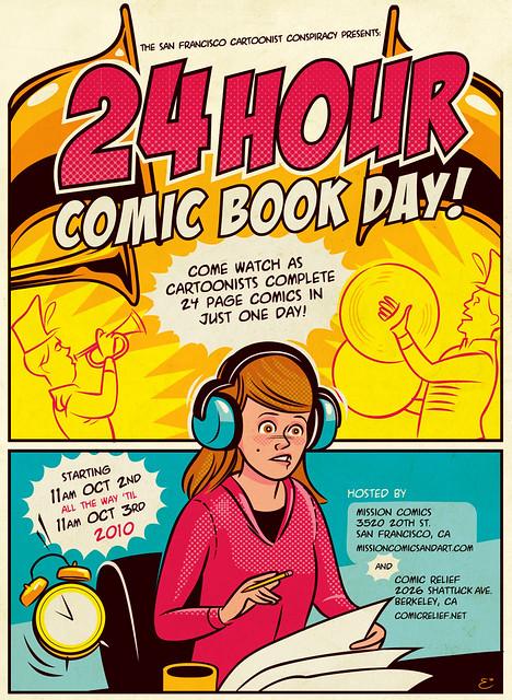 24 Hour Comic Book Day Flyer art