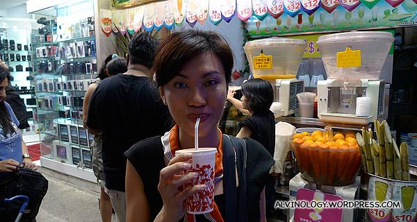 Rachel and I bought fruit juice
