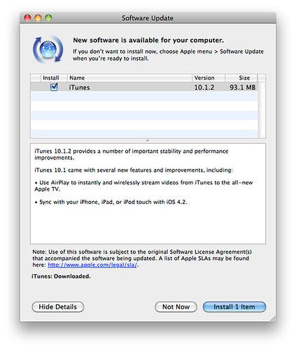 update iTunes 10.1.2