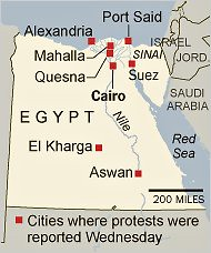 Cities and regions of the North African state of Egypt where workers struck and took to the streets on Feb. 9, 2011. The struggle in Egypt is escalating everyday. by Pan-African News Wire File Photos