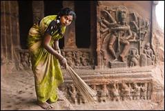 Sweeper (ianpwatkinson) Tags: india green stone temple caves cave shiva karnataka badami chalukya sweeper 6thcentury chlaukya
