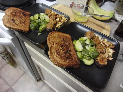 Brussels Sprouts, Stuffed Mushrooms, Garlic Toast, and Pumpkin Seeds