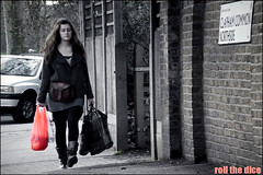 `413 (roll the dice) Tags: park street uk pink red urban blackandwhite woman colour london art classic girl fashion mobile shopping walking photography candid south streetphotography stranger unknown mad claphamcommon lambeth thering unaware boozer selective sw4 londonist