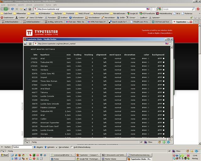 screenshot beliebte schriftgroessen