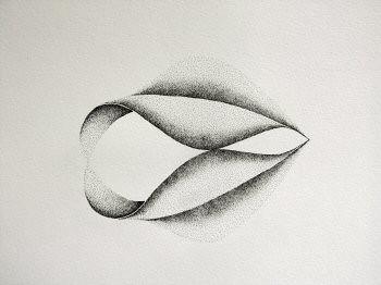 Dessin à l'encre, au point, sur papier aquarelle représentant une architecture végétale inspirée d'un pétale de dimension 30x40cm. Dans ce duo, les deux formes sont  parallèles et en contact au niveau des bases, du centre et des pointes – Sandrine Vallée