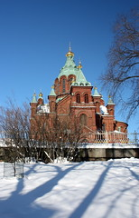 Uspenski cathedral in winter #1 (Sokleine (presently travelling)) Tags: winter snow suomi finland helsinki shadows cathedral hiver cathdrale brique neige orthodoxe redbrick ombres backstein uspenski finlande