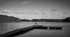 Sunset, moonrise (Mattias Marklund (stofil)) Tags: sunset moonrise lake water swim summer blackandwhite monochrome sonyimages sonyalpha sonya7ii zeiss sonnar 35mm landscape sweden göteborg