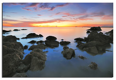 Black Rocks (Nora Carol) Tags: seascape dusk lowtide sabah lanscape blackrock colorsofnature malaysianphotographer searock womand womanphotographer natureimage noracarol kotakinabalusunset sabahanphotographer beachimage landscapephotographerfromsabah womanlandscapephotographer womaninphotography