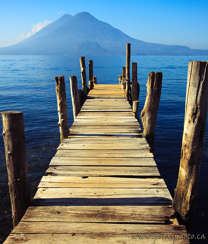 Lake Atitlan Dock and Dual Volcanos