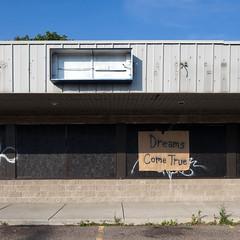 Dreams Come True (metroblossom) Tags: usa abandoned sign michigan detroit cardboard northside highlandpark derelict coc dreamscometrue img0817